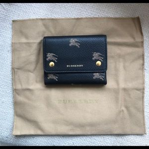 Authentic Navy Logo Burberry Trifold Wallet (NWOT)